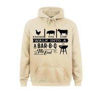 Men's Hoodies & Sweatshirts A Chicken Pig Cow Walk Into Barbecue Bbq Funny Pullover Hoodie Men Summer Cotton Harajuku Anime Streetwear Black