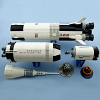 37003 2009Pcs Rocket Space Launch Vehicle Saturn V Model Building Blocks Toys for Children Compatible with 21309 80013