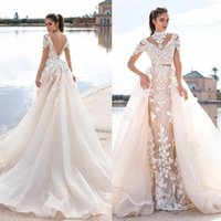 2016 Llorenzorossib Ridal Wedding Dresses Sash Sexy Backless Custom Made Bridal Gowns Applique Detachable Mermaid Wedding Dress