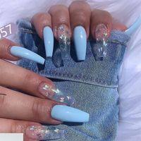 Papillon professionnel Faux Nails Faux Nails Cercueil Artificial NailTips avec designs Appuyez sur sur ongles Fakeakails Ensemble Outil Nailart