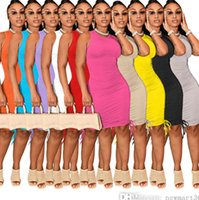 Women Casual Midi Dresses Round Neck Sleeveless Pleated Bodycon Pencil Dress Solid Color Elastic Slim Skirt Clubwear Plus Size