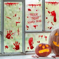 Wall Stickers Halloween Bloody Handprint Style Glass Sticker Electrostatic Wallpaper Self-Adhesive Removable Home Decor