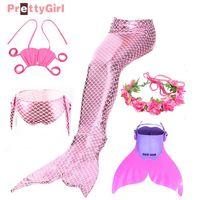 Dresses Baby Girl's Siren Tail with f Fin Costumes Monofin Swimming for Children Girls Cosplay Bikini Wearing Swimwear