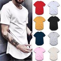 T-shirt Hommes Mode Street Street Street SHIRT Vêtements Homme Homme Curved Hem Long Line Tops Tops Tees Hip Hop Urban Vide Basic T Shirts TX135