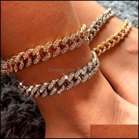 Jewelry2021 Punk Miami Iced Out Cuban Link Chain Anklet For Women Gold Sier Color Crystal Bracelets Alloy Chunky Anklets Jewelry Gift Drop D