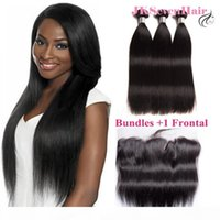 12A Top Grade Brazilian Straight Human Hair Extensions 3 PCS With 13x4Inch Lace Frontal Malaysian Peruvian Indian Hair Weaves With Frontal