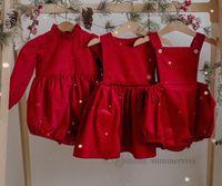 Ins Baby Rote Cord-Weste-Kleid 2021 Herbst Mädchen Ruffle-Kragen Langarm Strampler Kleinkind Kinder Hosenträger Jumpsuits Weihnachtskleidung Q0451
