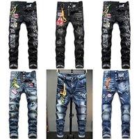 New Fashion DSQ Brand Brand European Italy Uomo Slim DSQ Jeans Pantaloni DSQ Pantaloni da uomo Pantaloni Denim Zipper Hole Hole Pants Pants Jeans per uomo X0621