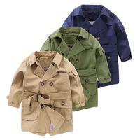 Neue Mode Trench Mäntel Für Jungen Lange Muster Lässige Jungen Gürtelte Trenchcoat Kind 2-6Y Herbst Federjacke Oberbekleidung 901 V2