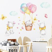 Wall Stickers Cartoon Balloon Cats For Boys Children Bedroom Kids Room Decor Removable PVC DIY Decals Home Decoration