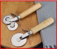 주방 도구 라운드 피자 커터 나이프 롤러 clutc 스테인레스 스틸 커터 나무 손잡이 과자 nonstick 도구 휠 슬라이서 그립 gwa5058
