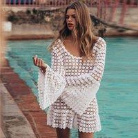 Beach Tunic Shirt Lace Hollow Crochet Beach Bikini Cover Up long Sleeve Women Tops Swimwear Beach Dress White New Summer Swimsuit