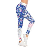 Women's Leggings Ladies High Waist Fitness Tights Sexy Pants Blue Floral Stitching Print Fashion Slim Fit