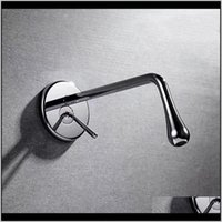 Faucets Brushed Gold Gun Gray Chrome Black Brass Bathroom Basin Drop Shape Faucet In Wall Cold Water Sink Mixer Tap 4Nccr Yxtrj