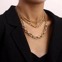 Chokers Vintage Punk Multilayer Metal Choker Chunky Chain Necklace For Women Hip Hop Gold Color Collar Party Fashion Jewelry Gift