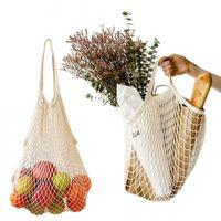 5 adet Mesh Net Alışveriş Torbaları 38 * 35 cm Moda Renk Dize Meyve Sebze Bakkal Çantası Shopper Tote Dokuma Pamuk Omuz Çantaları; El totes ev saklama torbaları '