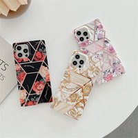Square Electroplated Marble Phone Cases For iPhone 12 Pro Max 11 XR XS 7 8 Plus SE2020 Flower Mobile Shell