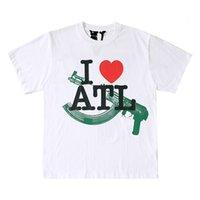Moda Marka Büyük V Atlanta Sınırlı Kırmızı Kalp AK Kısa Kollu Unisex T-shirt