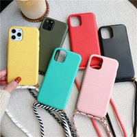 Wheat Straw TPU Shockproof Phone Cases with Lanyards For iPhone 11 12 Pro XS Max XR 8 7 Plus Samsung Galaxy S20 S10 Ultra Silicone Matte Soft Cover
