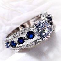 Interés especiales Anillos de boda Mujeres Azul / Blanco CZ CZ CZ Party Ring Temperamento Regalo de temperamento Joyería de moda