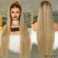 12 ~ 26 inç Düz Sentetik Dantel Ön Peruk Simülasyon İnsan Saç Peruk Ombre Renk Perruques De Cheveux Huminları Pelucas 18113-27