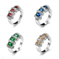 Cluster Rings Brand Colorful Cubic Zircon Ring Copper Rose Gold-color Engagement Wedding For Women Wholesale