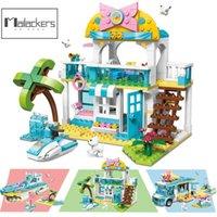 Tailaackers Creator Expert 3 в 1 наборах пляжного дома мороженое автомобиль корабля лодка друзья для девочек строительные блоки кирпичи создатель игрушки 210416