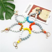 Charm Bracelets Big O Shaped Silicone Loop Wrist Key Ring Keychain With Gold Clasp Round Strap Accessory Beaded