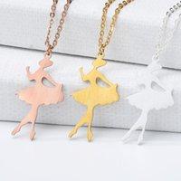 Paslanmaz Çelik Origami Bale Dansı Kız Kolye Kolye Balerin Charm Kolye Altın Zincir Basit Takı Doğum Günü Hediyesi