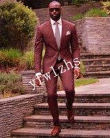 Handsome Two Buttons Groomsmen Peak Lapel Groom Tuxedos Man's Suits Wedding Prom Dinner Man Blazer(Jacket+Pants+Tie) K529