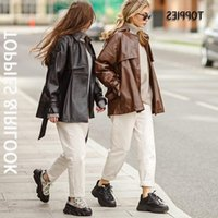 Women's Leather & Faux Fashion Toppies 2021 Black Jacket Woman Button Belted Coat Ladies Outwear Female