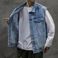 Men's Vests Mens Denim Vest Japanese Coats Waistcoat Loose Cargo Sleeveless Jacket Male Tank