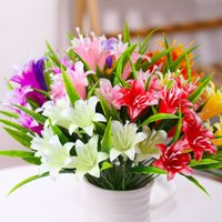 Luxury Decorative Flowers Wreaths Simulated Lily Artificial Potted Home Decoration Simulated Plant Dried Flower Ornament