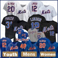 New Mens York Custom Mets Mulheres 12 Francisco Lindor Baseball Jersey 20 Pete Alonso Juventude 48 Jacob Degrom 18 Darryl Strawberry 30 Conforto