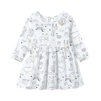 Girl's Dresses Fashion Toddler Infant Kids Baby Girls Spring And Autumn Casual Long-sleeved Round Neck Floral Printed Princess Party Dress#p