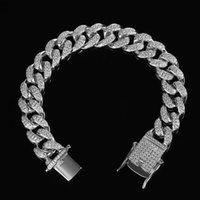 Link, Chain Hip Hop Men Iced Out Bling Bracelet Pave Setting CZ Stone Miami Cuban Chains Rock Bracelets Male Fashion Jewelry
