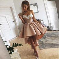 High-Low Prom Dresses Vestidos de festa Luxury Applique Satin Abendkleider Special Occasion Cocktail Gowns