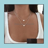& Pendants Jewelrylayered Necklaces Manmade Pearl Heart Charm Mti Layer Pendant Chokers Fashion Jewelry Gift Idea ( Gold, Sier) Drop Deliver