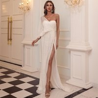 Casual Dresses Sexy One Shoulder Sequin Evening Party Dress Floor Length Maxi Solid Color High Split Backless Women White Mop Robe