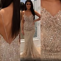 2021 Sexy Champagne Arabic Evening Dresses Wear Mermaid Spaghetti Straps Luxurious Crystal Beads Hand Made Flowers Party Dress Open Back Prom Gowns Sweep Train