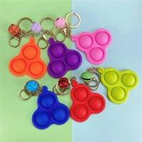 Küçük çan ile 12 stilleri pop fidget itme kabarcık oyuncak Anahtarlık stres rölüm duyusal silikon oyuncaklar anahtarlık kolye çocuklar yetişkinler hediye lla609
