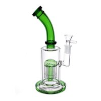 """9.6 """"두꺼운 유리 물 봉 물 담뱃대 (525g) 돔 여과기 8 팔 트리 퍼크, 흡연 필터 봉지 파이프 파이프 재활용기 14mm 그릇 수제 Waterpipe DAB 오일 장비 (녹색)"""