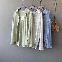 Las camisas de las blusas de las mujeres serán ~ mi camisa de seda femenina verano han edición fácil temperamento espectáculo fino manga larga