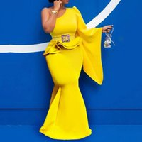 2021 Plus Size Arabic Aso Ebi Yellow Two Pieces Prom Dresses One Shoulder Mermaid Evening Formal Party Second Reception Bridesmaid Gowns Dress ZJ367