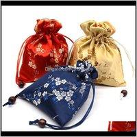 Sacchetti, borse 12x15cm DString regalo Braccialetto Braccialetto Braccialetto, Panno di seta cinese, Small Jewelry Wedding Christmas Packaging sacco sacchetto BRBJ 3BSCX