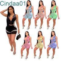 Женщины Scestsuits Две части набор дизайнер Slim Sexy Yoga Outfits без рукавов молния топы шорты повседневные напечатанные спортивные костюмы Sportwear 7 цветов