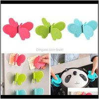 Mats Pads Table Decoration Aessories Kitchen, Dining Bar Home & Garden2Pcs Set Butterfly Shaped Sile Anti-Scald Devices Fridge Magnet Kitchen