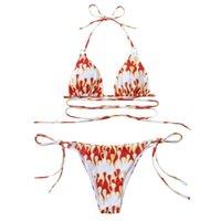 Women's Swimwear 2021 Swimming Shorts Woman Sexy Cherry Print Hanging Neck Push-up Padded Bra Strappy Bandage Bikini Set