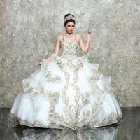 White Champagne Sequins Lace Quinceanera Dresses 2021 Sweet 16 Ball Gown Prom Dress Lace-up vestidos de 15 años