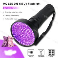 Fackel 100 LEDS Black Light 395 Nm UV Taschenlampe Handheld Tragbare ultraviolette Detektor Fluoreszenzmittelerkennung Lila Lampe DHL